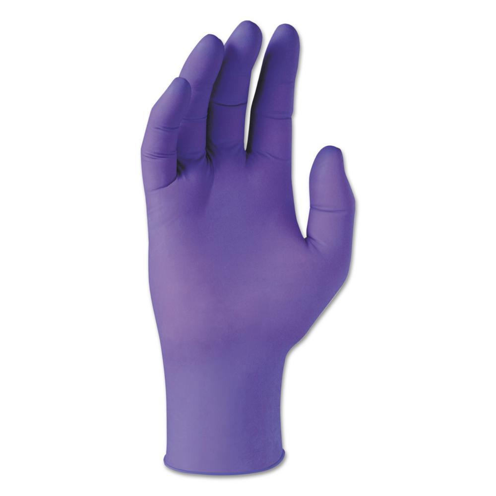 Purple latex gloves