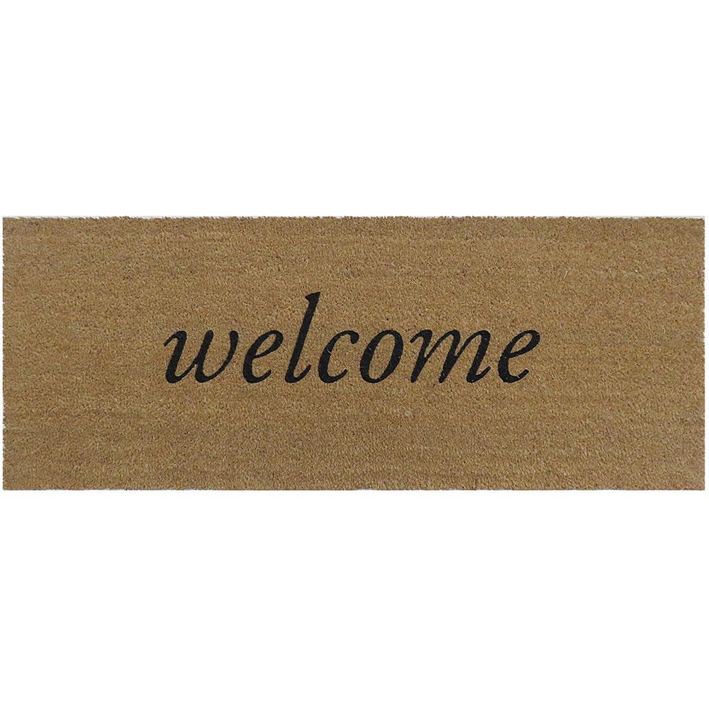 Welcome 47 in. x 18 in. Slip Resistant Coir Door Mat