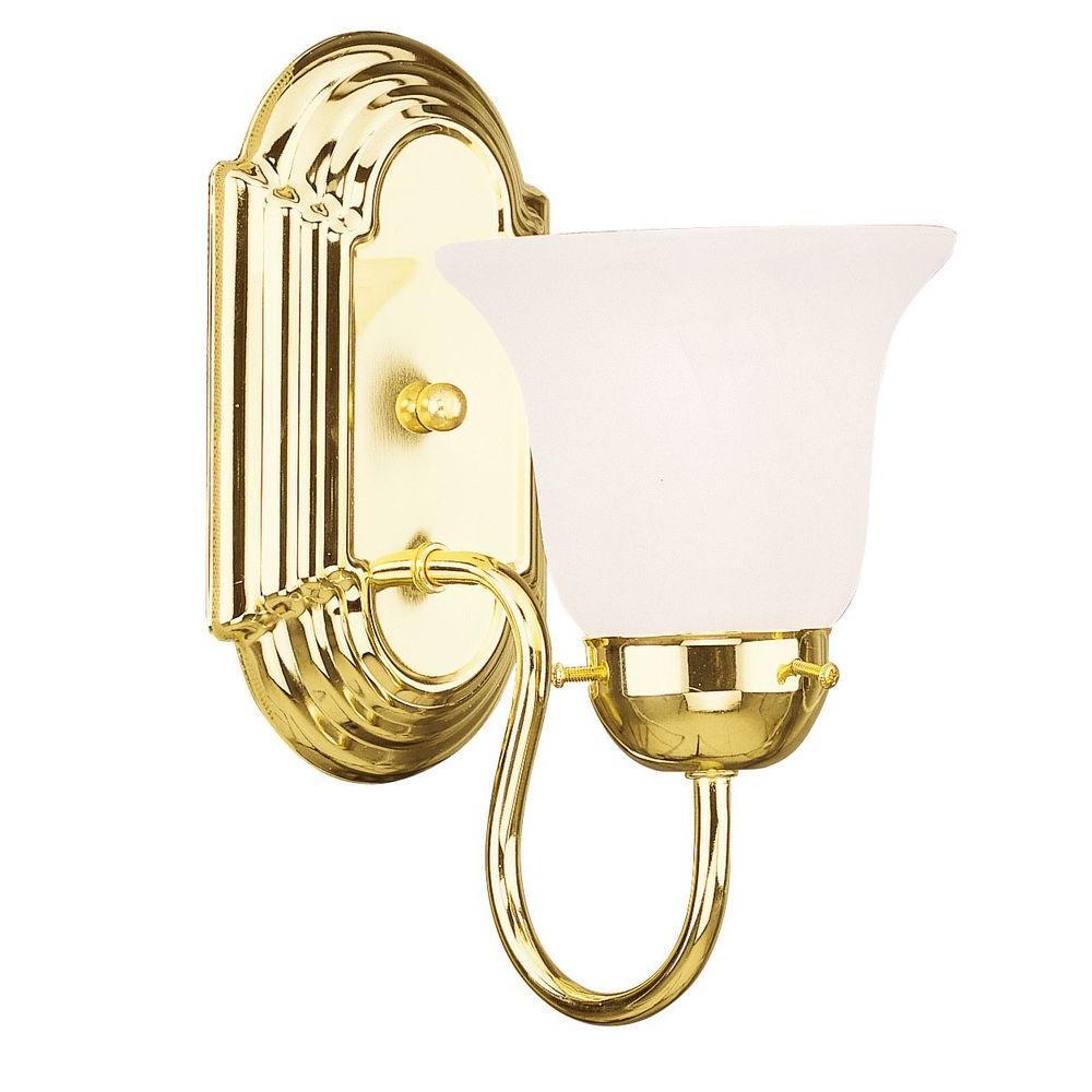 1-Light Polished Brass Bath Light with White Alabaster Glass