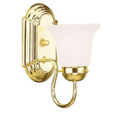 1-Light Polished Brass Bath Light with White Alabaster Glass