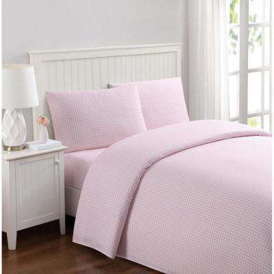 Anytime Gingham Pink Twin XL Sheet Set