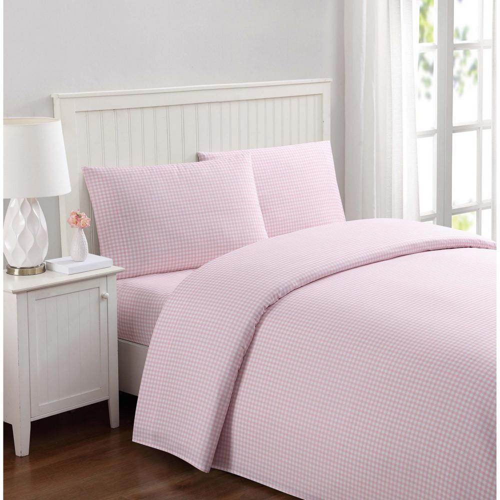 Anytime Gingham Pink Twin Sheet Set
