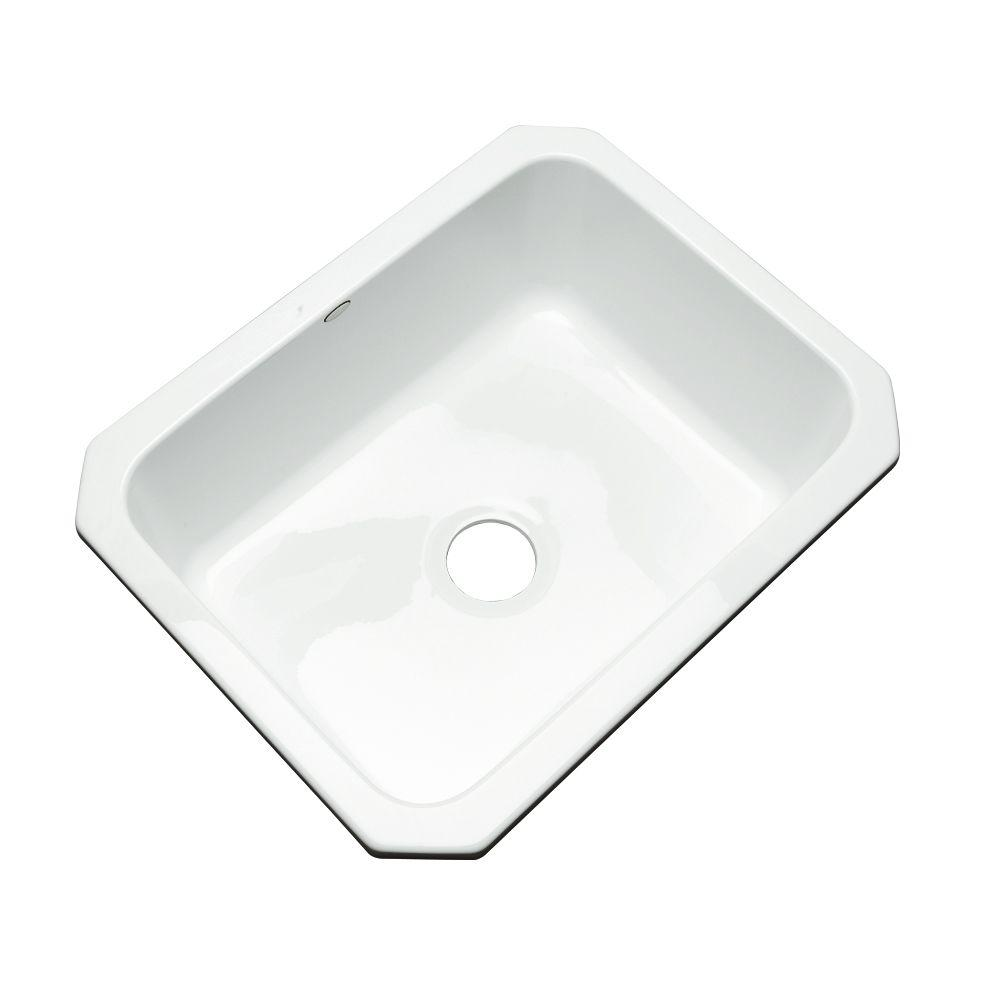 Inverness Undermount Acrylic 25 in. Single Bowl Kitchen Sink in White