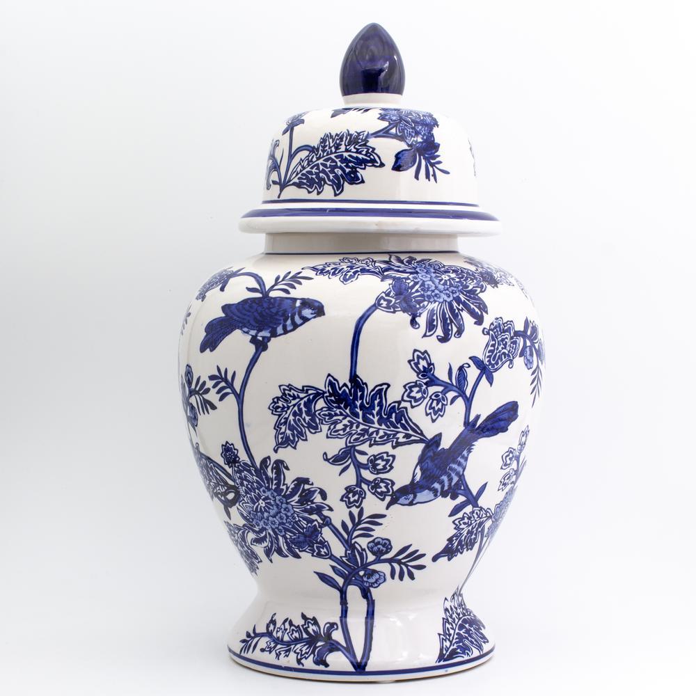 Blue Garden Bird and Blossom Ginger Jar