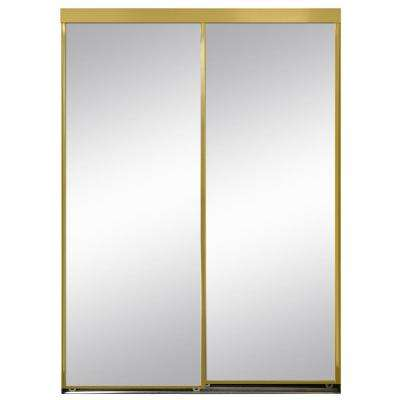 48 in. x 96 in. Polished Edge Mirror Framed with Gasket Interior Closet Aluminum Sliding Door with Gold Trim