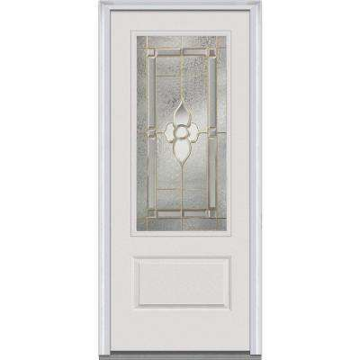 36 in. x 80 in. Master Nouveau Left-Hand 3/4 Lite 1-Panel Classic Primed Fiberglass Smooth Prehung Front Door