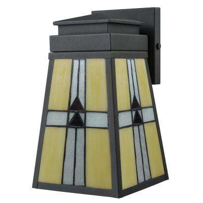 10.5 in. Barkley 1-Light Outdoor Mica Black Wall Mount Sconce