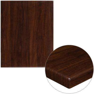 24 in. x 30 in. High-Gloss Walnut Resin Table Top with 2 in. Thick Drop-Lip