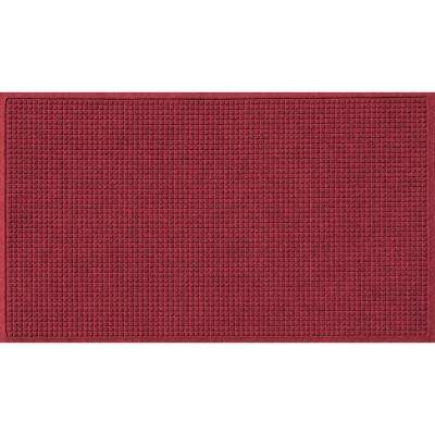 Red Black 36 in. x 84 in. Squares Polypropylene Door Mat