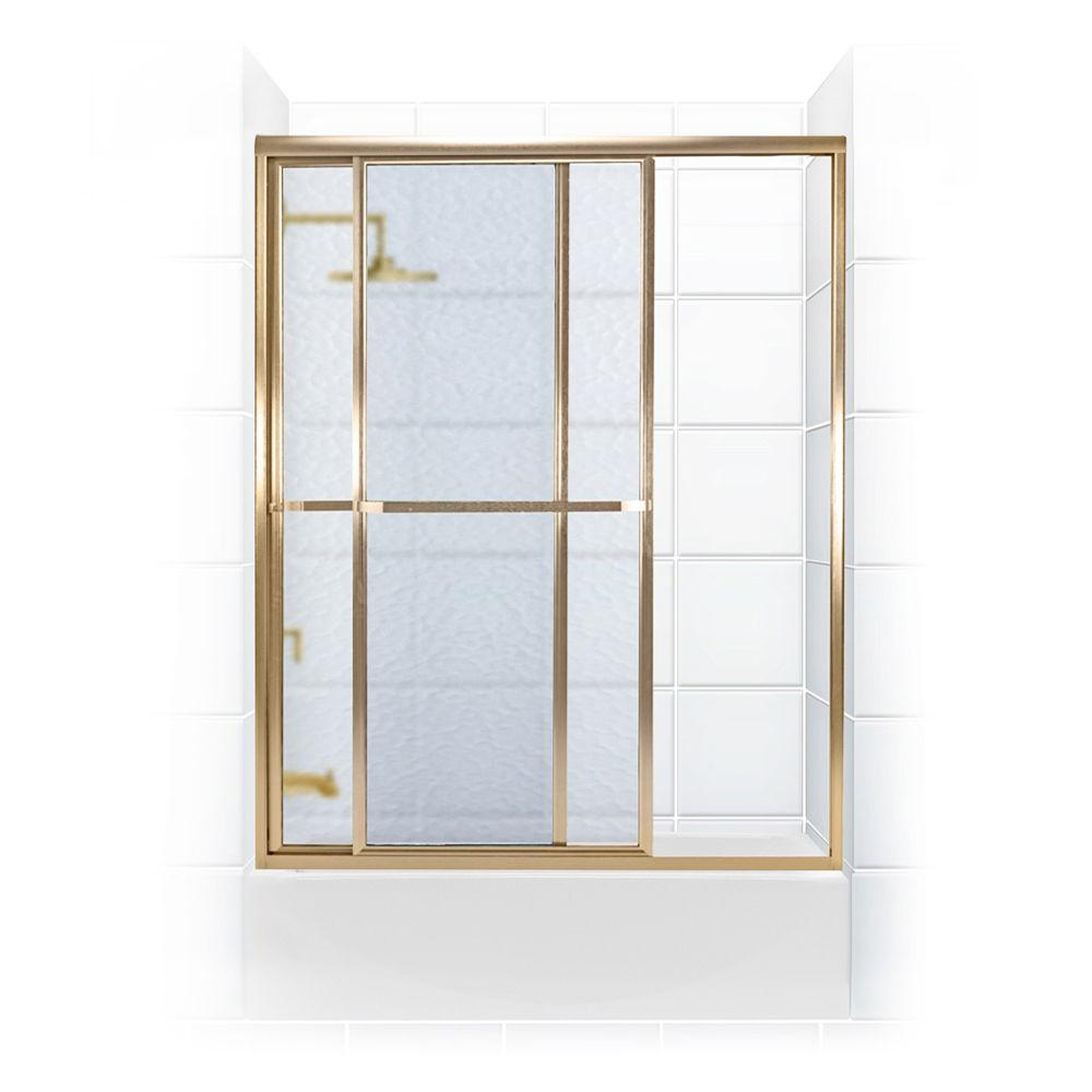 Coastal Shower Doors Paragon Series 56 in. x 58 in. Framed Sliding Tub Door with Towel Bar in Gold and Obscure Glass