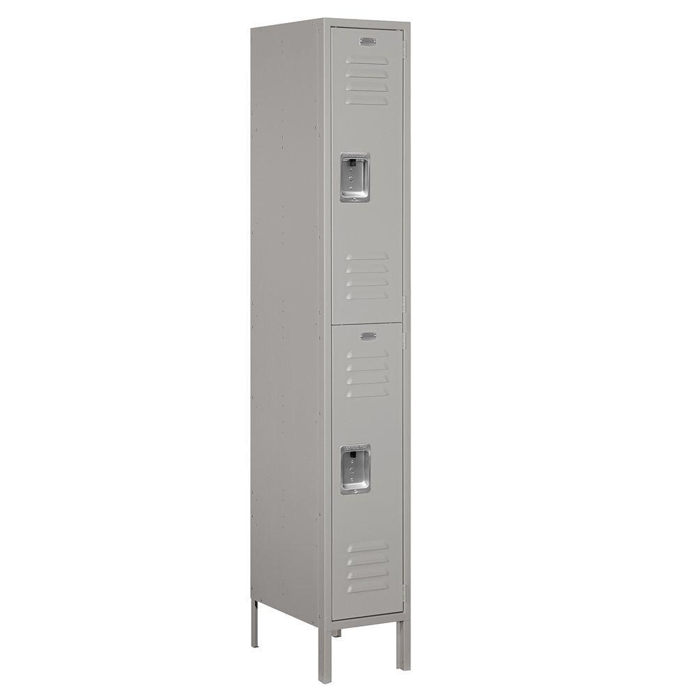 Salsbury Industries 62000 Series 12 in. W x 78 in. H x 18 in. D 2-Tier Metal Locker Assembled in Gray