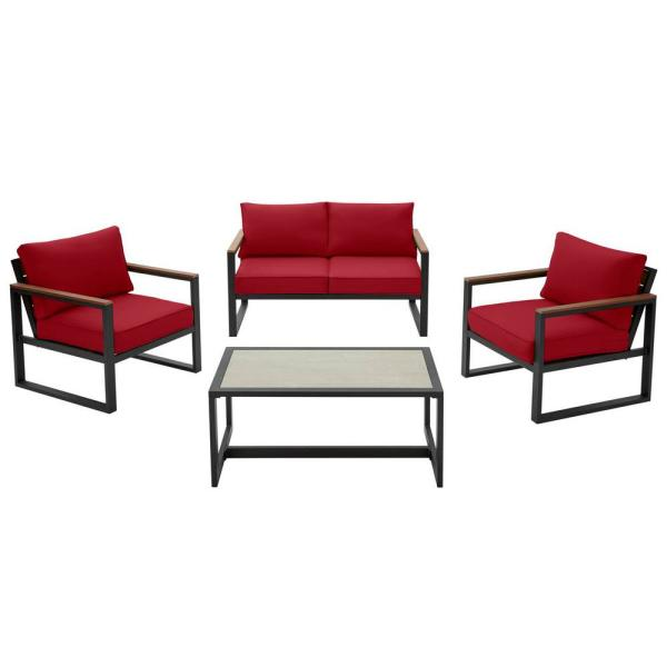 West Park Black Aluminum Outdoor Patio 4-Piece Conversation Set with CushionGuard Chili Red Cushions
