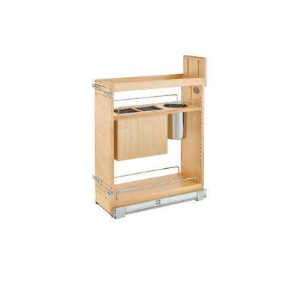 25.5 in. H x 8 in. W x 21.56 in. D Pull-Out Wood Base Cabinet Organizer with Knife Block and Soft-Close Slides