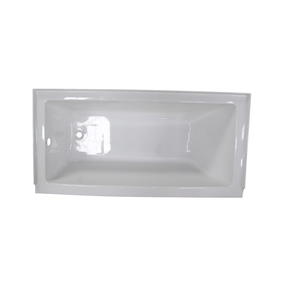 Calli 5 ft. Acrylic Rectangular Drop-in Left-Hand Drain Bathtub in White