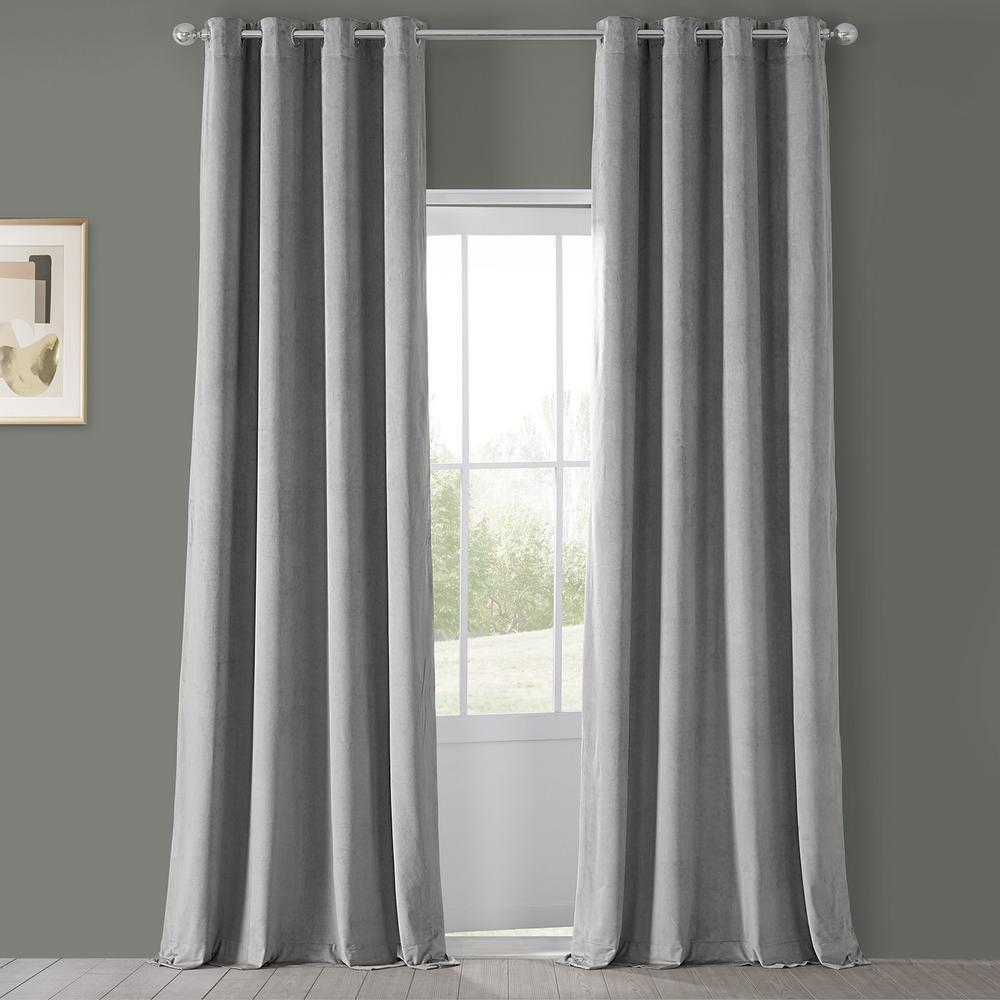 Blackout Signature Silver Grey Grommet Blackout Velvet Curtain - 50 in. W x 120 in. L (1 Panel)