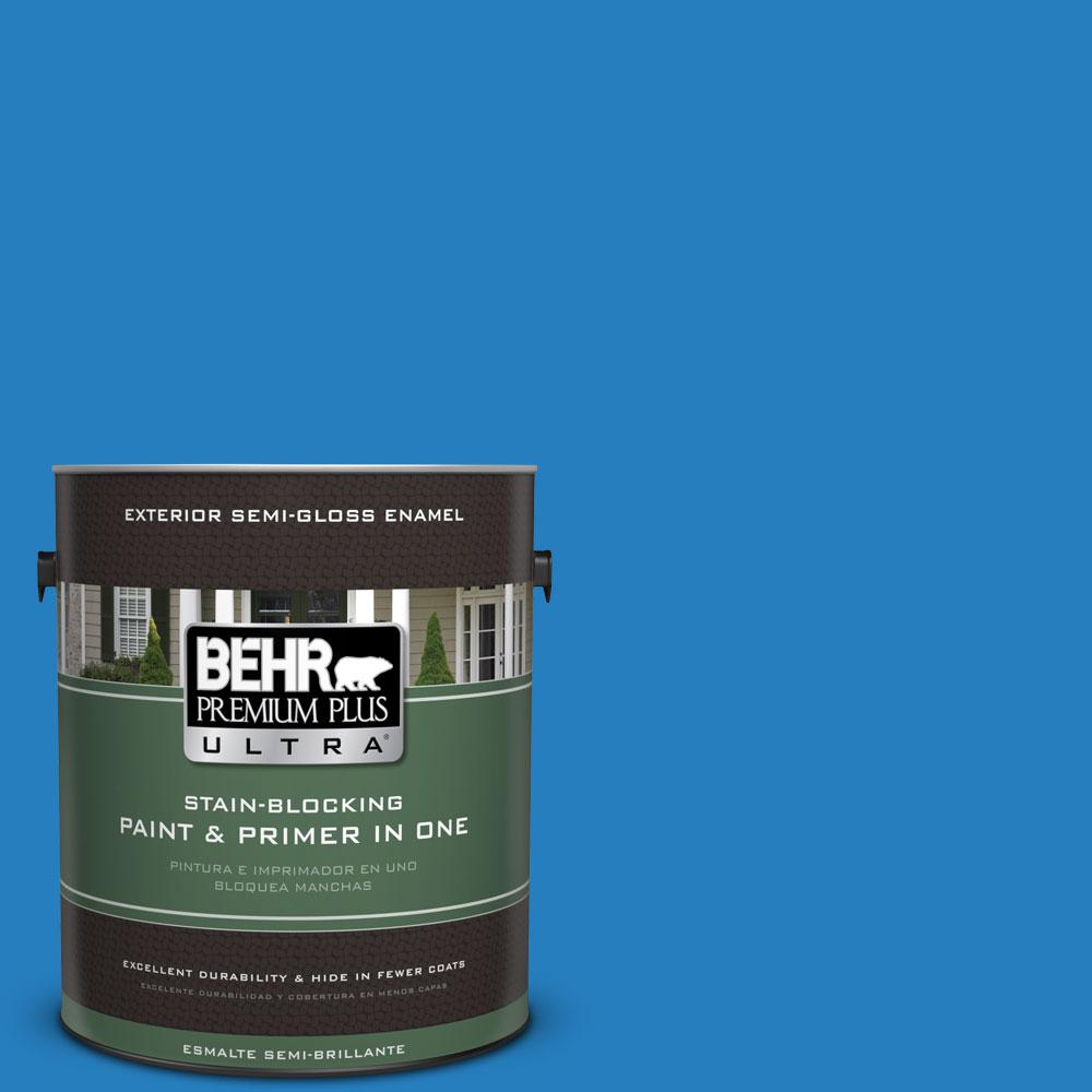BEHR Premium Plus Ultra 1-gal. #P510-6 Brilliant Blue Semi-Gloss Enamel Exterior Paint