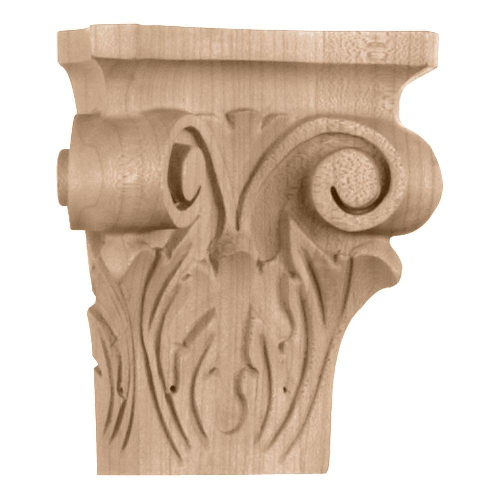 Ekena Millwork 2-1/2 in. x 4-3/4 in. x 5 in. Small Square Onlay Acanthus Capital