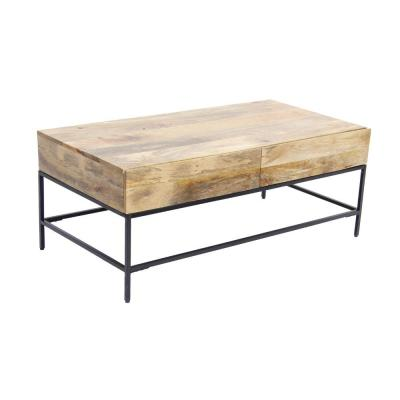 45 in. Brown/Black Large Rectangle Wood Coffee Table with Drawers