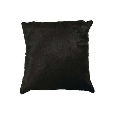 Torino Black 18 in. x 18 in. Cowhide Pillow