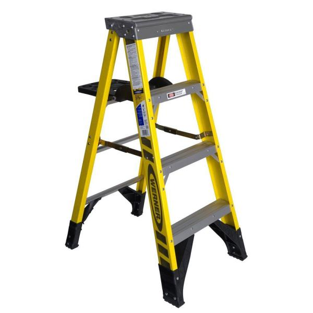 4 ft. Fiberglass Step Ladder with Shelf 375 lb. Load Capacity Type IAA Duty Rating