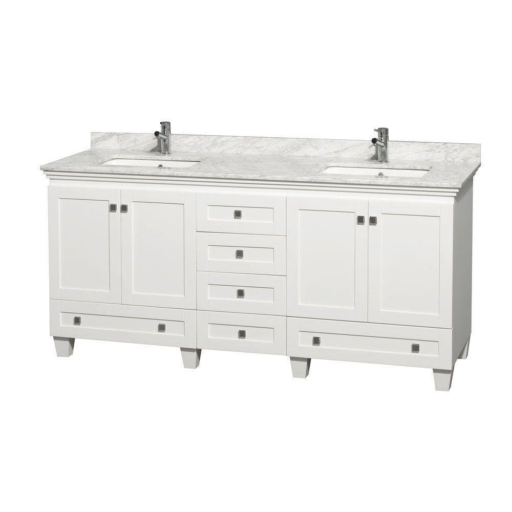 Wyndham Collection Acclaim 72 in. Double Vanity in White with Marble Vanity Top in Carrara White and Square Sink