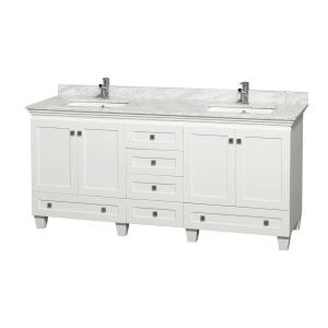 Wyndham Collection Acclaim 72 inch Double Vanity in White with Marble Vanity Top in Carrara White and Square Sink by Wyndham Collection