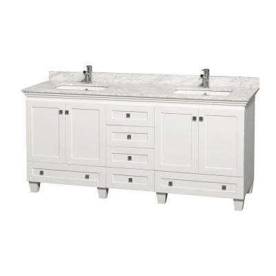 Acclaim 72 in. Double Vanity in White with Marble Vanity Top in Carrara White and Square Sink