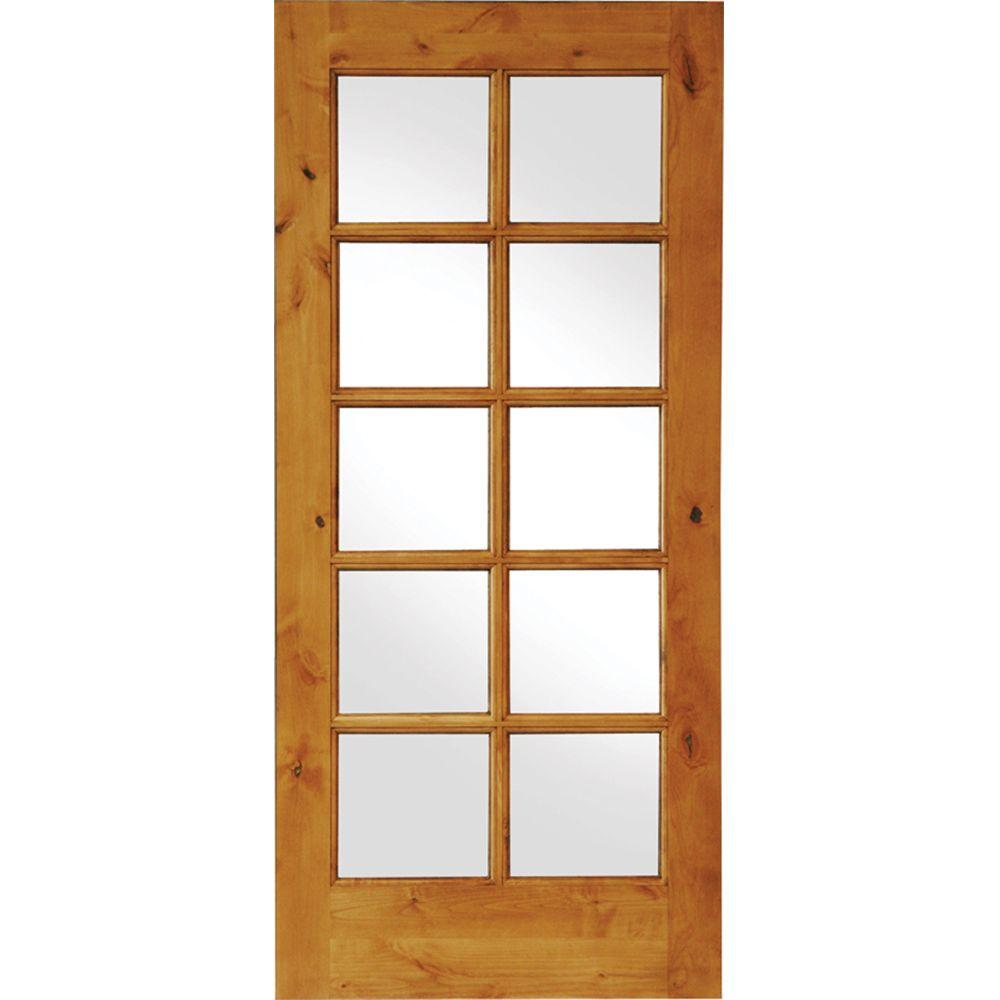 Krosswood Doors 32 in. x 80 in. Knotty Alder 10-Lite Low-E Insulated Glass Solid Right-Hand Wood Single Prehung Interior Door