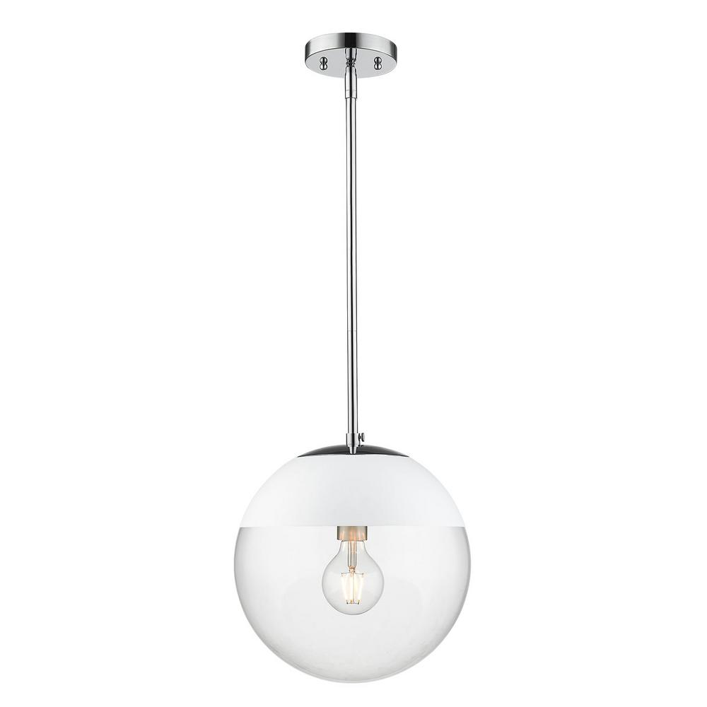 Golden Lighting Dixon 1-Light Chrome with Clear Glass and White Cap Pendant