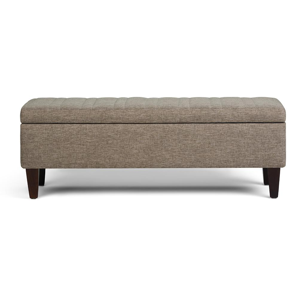 Monroe Fawn Brown Storage Ottoman Bench