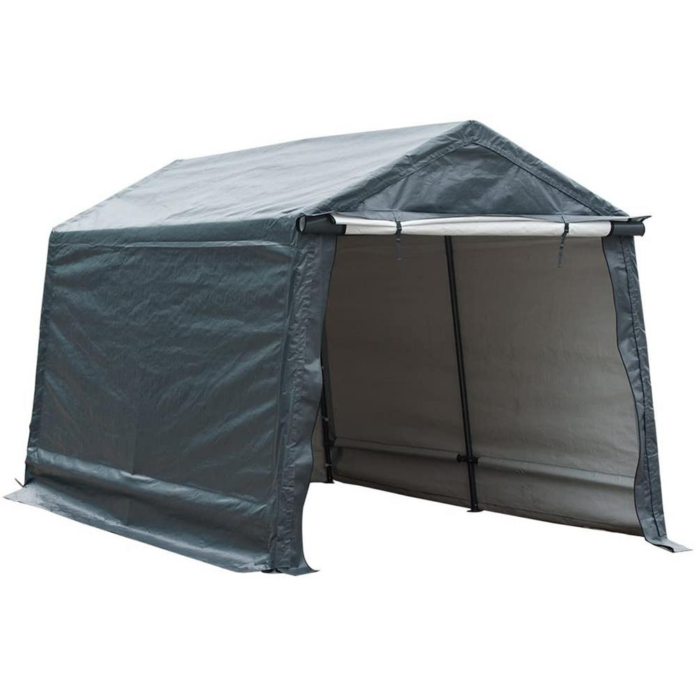 Abba Patio 10 ft. W x 10 ft. D x 8.7 ft. Grey Outdoor Storage Shelter w/ Sidewalls and Rolled Up Doors