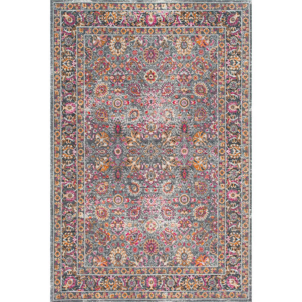 Nuloom Vintage Persian Floral Isela Grey 8 Ft X 10 Ft