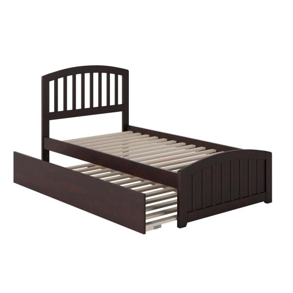 Richmond Twin Extra Long Bed with Matching Footboard and Twin Extra Long Trundle in Espresso