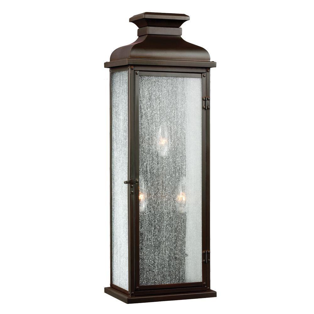 Pediment 3-Light Dark Aged Copper Outdoor Wall Fixture