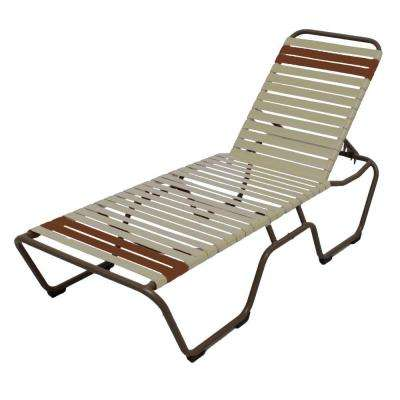 Marco Island Brownstone Commercial Grade Aluminum Patio Chaise Lounge with Putty and Saddle Vinyl Straps (2-Pack)