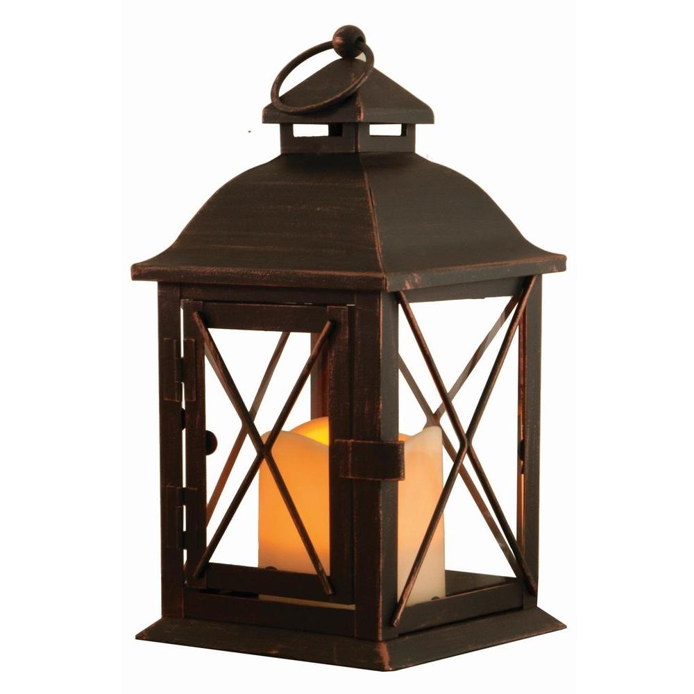Antique Brown LED Lantern With Timer Candle 84035 LC   The Home Depot