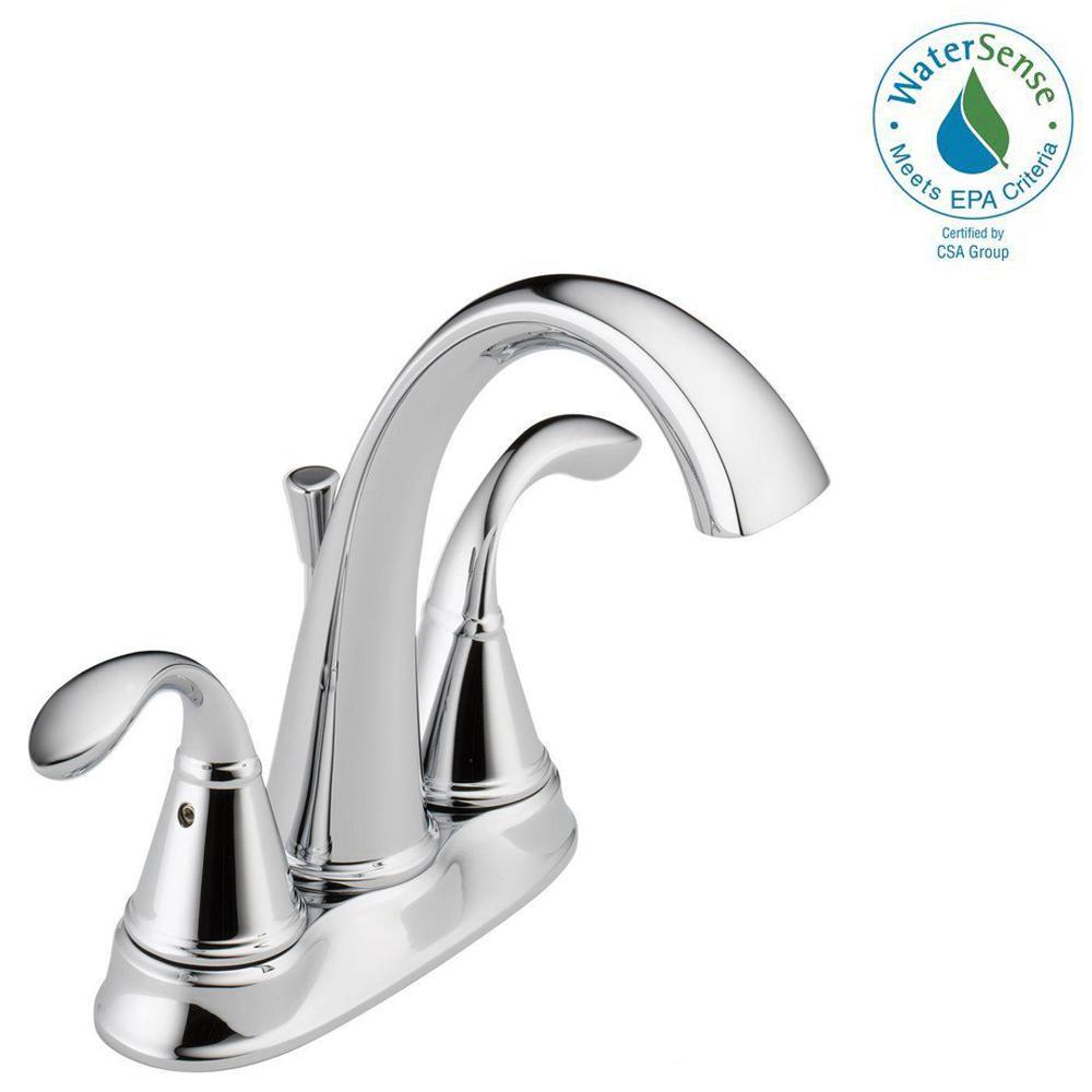 Delta Zella 4 inch Centerset 2-Handle Bathroom Faucet in Chrome by Delta