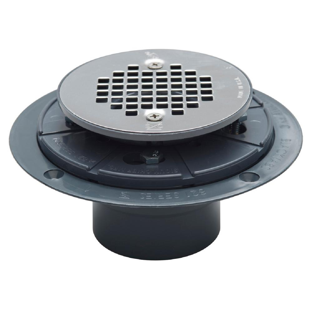 Superbe 2 In. X 3 In. PVC Adjustable Shower Drain With Strainer
