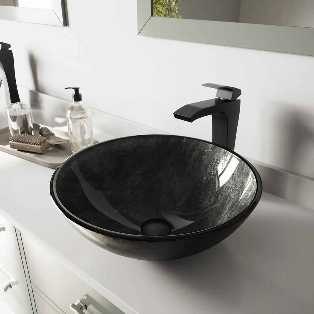 Glass Vessel Bathroom Sink in Gray Onyx and Blackstonian Faucet Set in Matte Black