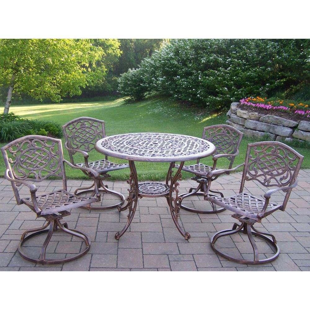 Oakland Living Mississippi Cast Aluminum 5-Piece Swivel Patio or Porch Dining Set