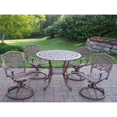 Mississippi Cast Aluminum 5-Piece Swivel Patio or Porch Dining Set
