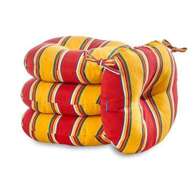 Carnival Stripe 18 in. Round Outdoor Seat Cushion (4-Pack)