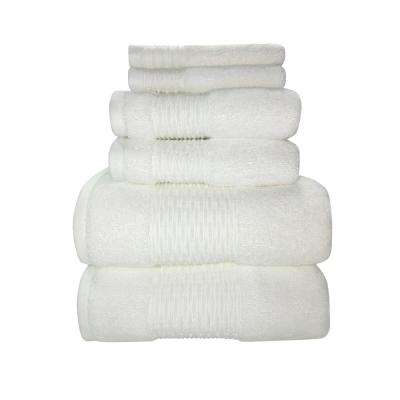 Luna 6-Piece 100% Cotton Bath Towel Set in White