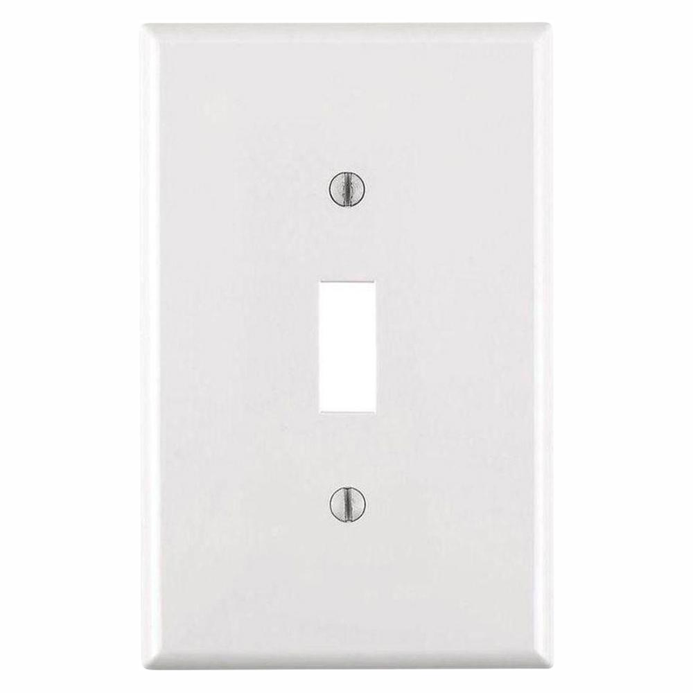 Leviton 1-Gang Midway Toggle Nylon Wall Plate, White (10-Pack)