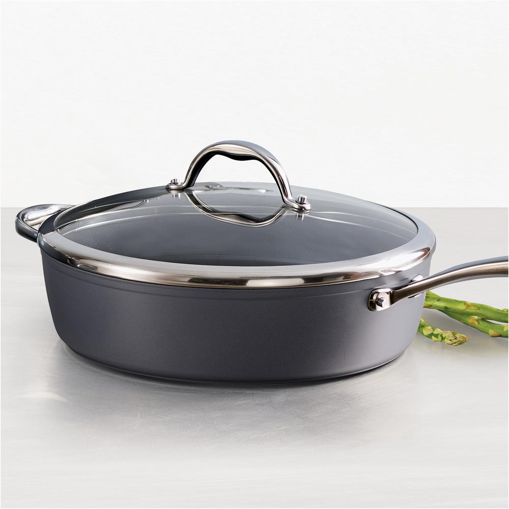 Gourmet 4.5 Qt. Induction Aluminum Deep Saute Pan with Lid in