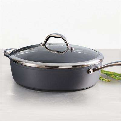 Gourmet 4.5 Qt. Induction Aluminum Deep Saute Pan with Lid in Slate Gray