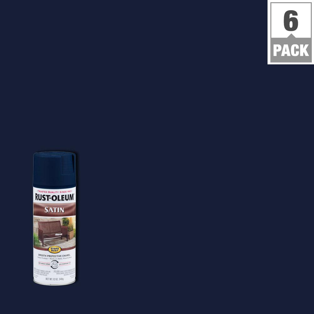 12 oz. Classic Navy Satin Protective Enamel Spray Paint (6-Pack)