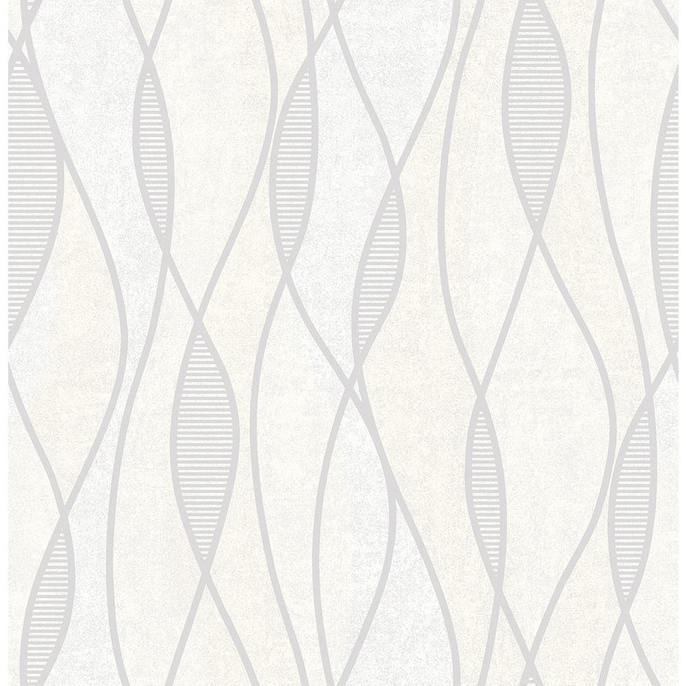 Gyro Light Grey Swirl Geometric Wallpaper Sample