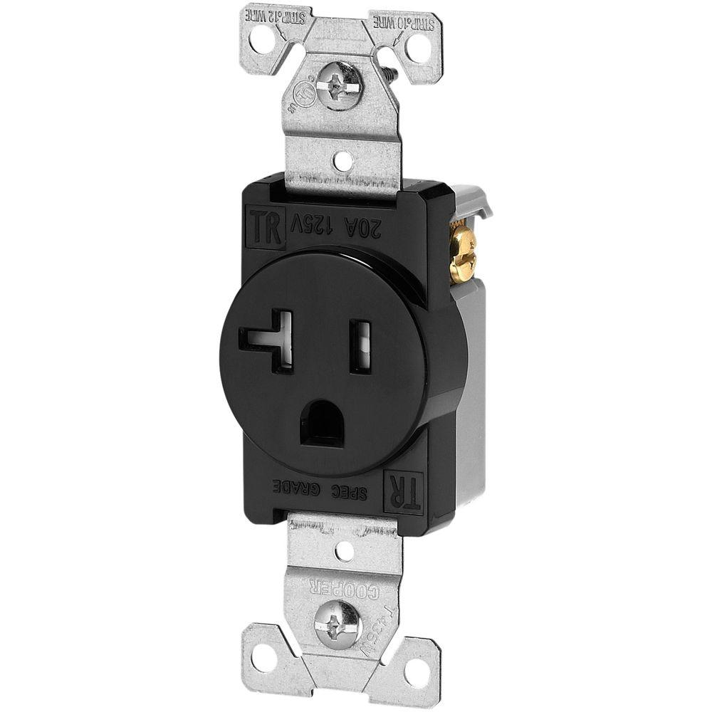 Eaton 20 Amp 125-Volt 5-20R Tamper Resistant Receptacle, Black-TR1877BKBXSP  - The Home Depot