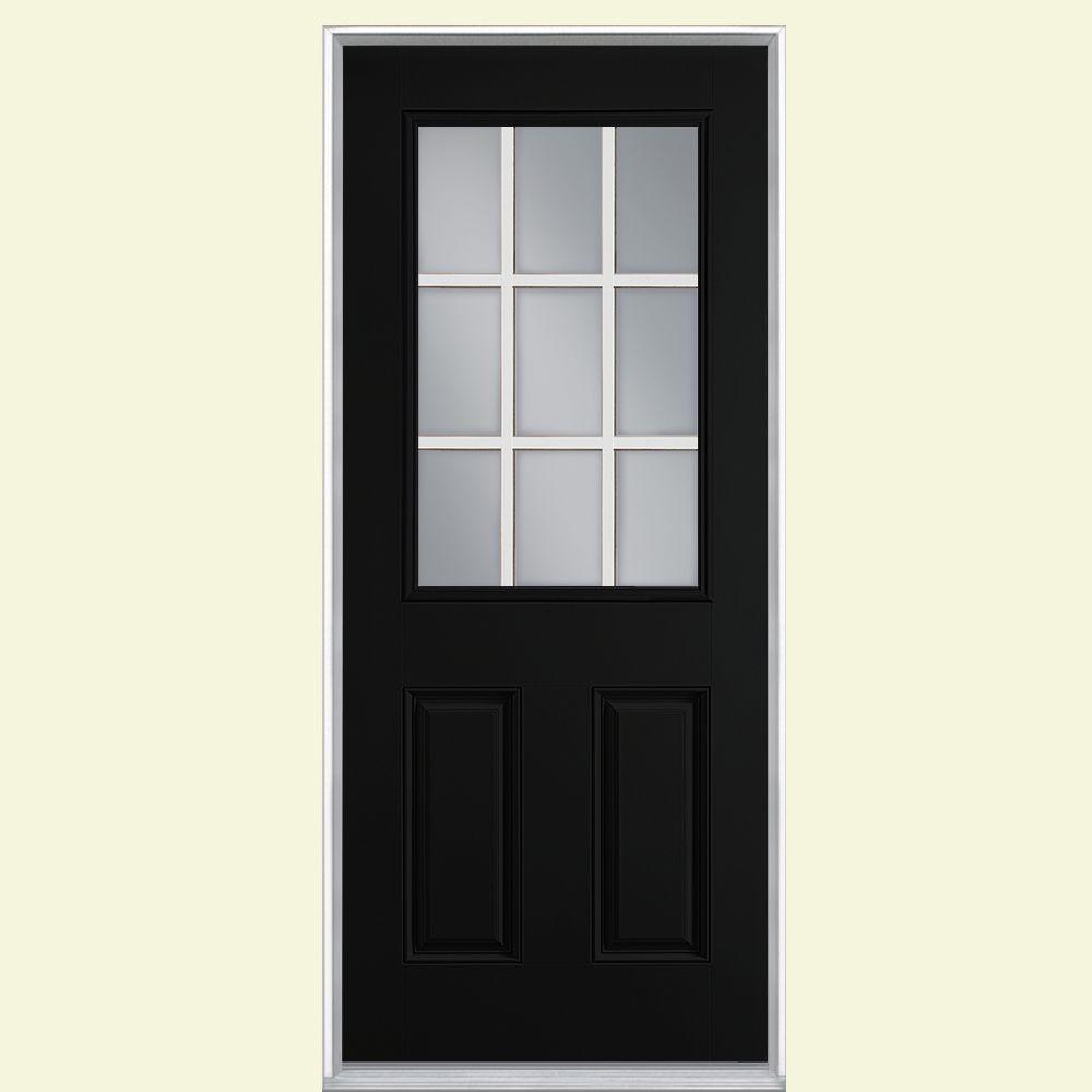 36 in. x 80 in. 9 Lite Jet Black Left Hand Inswing Painted Smooth Fiberglass Prehung Front Door, Vinyl Frame